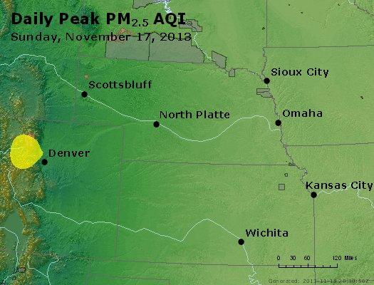 Peak Particles PM<sub>2.5</sub> (24-hour) - http://files.airnowtech.org/airnow/2013/20131117/peak_pm25_ne_ks.jpg