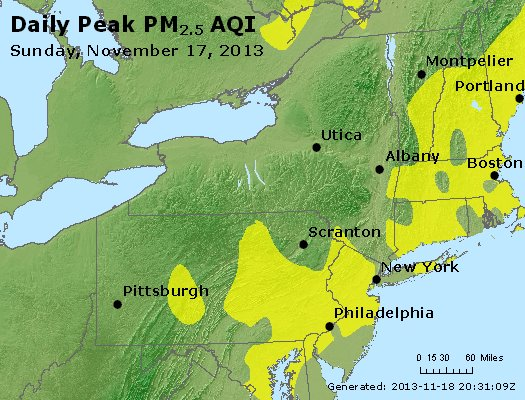 Peak Particles PM<sub>2.5</sub> (24-hour) - http://files.airnowtech.org/airnow/2013/20131117/peak_pm25_ny_pa_nj.jpg