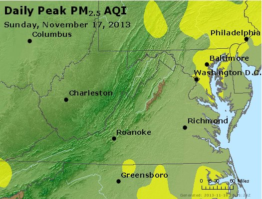 Peak Particles PM<sub>2.5</sub> (24-hour) - http://files.airnowtech.org/airnow/2013/20131117/peak_pm25_va_wv_md_de_dc.jpg