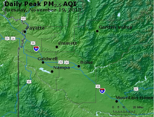 Peak Particles PM<sub>2.5</sub> (24-hour) - http://files.airnowtech.org/airnow/2013/20131119/peak_pm25_boise_id.jpg
