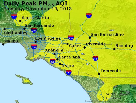 Peak Particles PM<sub>2.5</sub> (24-hour) - http://files.airnowtech.org/airnow/2013/20131119/peak_pm25_losangeles_ca.jpg