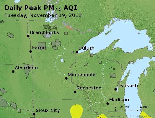 Peak Particles PM<sub>2.5</sub> (24-hour) - http://files.airnowtech.org/airnow/2013/20131119/peak_pm25_mn_wi.jpg
