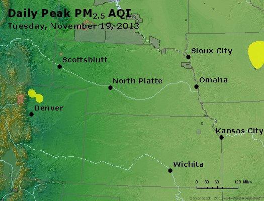 Peak Particles PM<sub>2.5</sub> (24-hour) - http://files.airnowtech.org/airnow/2013/20131119/peak_pm25_ne_ks.jpg