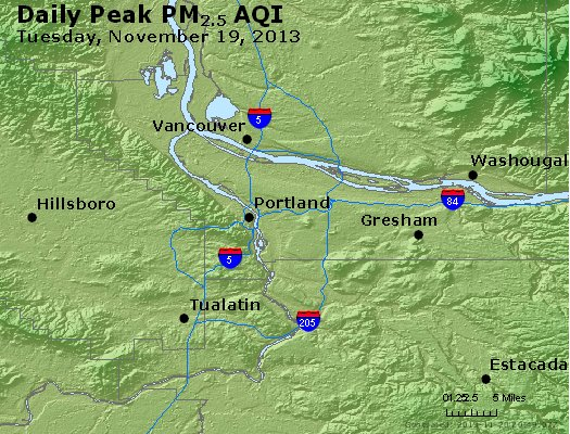Peak Particles PM<sub>2.5</sub> (24-hour) - http://files.airnowtech.org/airnow/2013/20131119/peak_pm25_portland_or.jpg