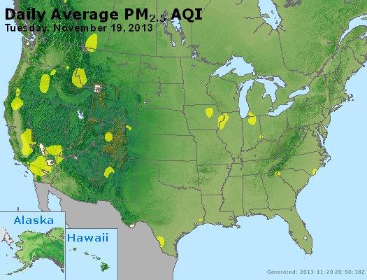 Peak Particles PM<sub>2.5</sub> (24-hour) - http://files.airnowtech.org/airnow/2013/20131119/peak_pm25_usa.jpg