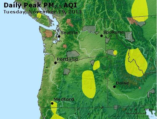 Peak Particles PM<sub>2.5</sub> (24-hour) - http://files.airnowtech.org/airnow/2013/20131119/peak_pm25_wa_or.jpg