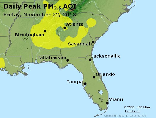 Peak Particles PM<sub>2.5</sub> (24-hour) - http://files.airnowtech.org/airnow/2013/20131122/peak_pm25_al_ga_fl.jpg