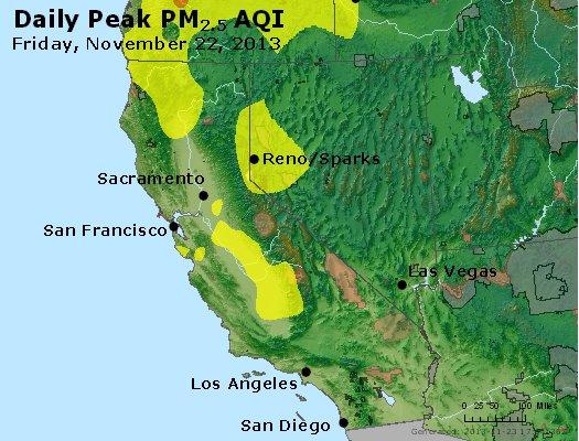 Peak Particles PM<sub>2.5</sub> (24-hour) - http://files.airnowtech.org/airnow/2013/20131122/peak_pm25_ca_nv.jpg
