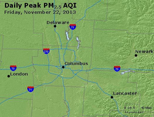 Peak Particles PM<sub>2.5</sub> (24-hour) - http://files.airnowtech.org/airnow/2013/20131122/peak_pm25_columbus_oh.jpg