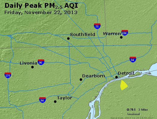 Peak Particles PM<sub>2.5</sub> (24-hour) - http://files.airnowtech.org/airnow/2013/20131122/peak_pm25_detroit_mi.jpg