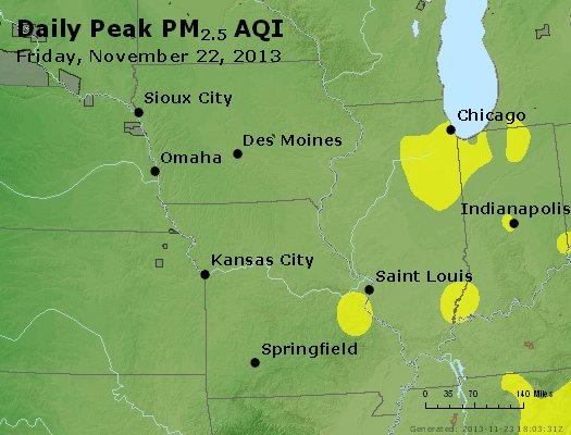 Peak Particles PM<sub>2.5</sub> (24-hour) - http://files.airnowtech.org/airnow/2013/20131122/peak_pm25_ia_il_mo.jpg