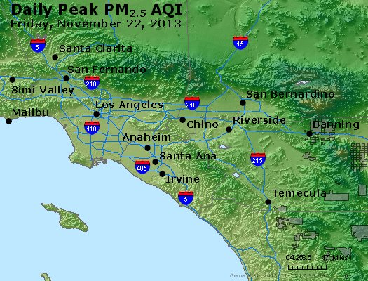Peak Particles PM<sub>2.5</sub> (24-hour) - http://files.airnowtech.org/airnow/2013/20131122/peak_pm25_losangeles_ca.jpg