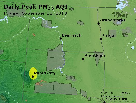 Peak Particles PM<sub>2.5</sub> (24-hour) - http://files.airnowtech.org/airnow/2013/20131122/peak_pm25_nd_sd.jpg