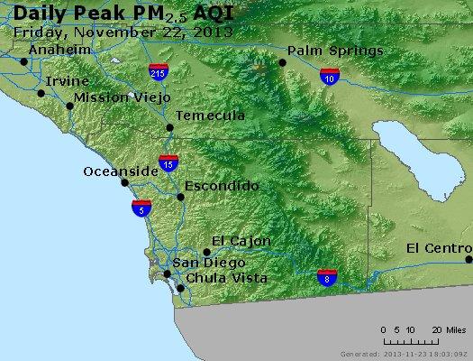 Peak Particles PM<sub>2.5</sub> (24-hour) - http://files.airnowtech.org/airnow/2013/20131122/peak_pm25_sandiego_ca.jpg