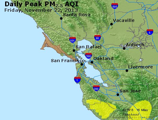 Peak Particles PM<sub>2.5</sub> (24-hour) - http://files.airnowtech.org/airnow/2013/20131122/peak_pm25_sanfrancisco_ca.jpg