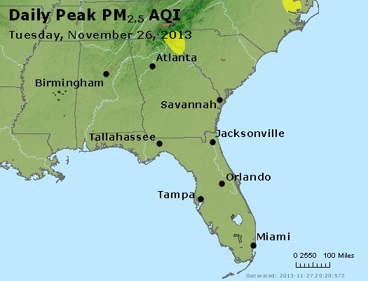 Peak Particles PM<sub>2.5</sub> (24-hour) - http://files.airnowtech.org/airnow/2013/20131126/peak_pm25_al_ga_fl.jpg