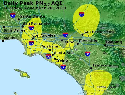 Peak Particles PM<sub>2.5</sub> (24-hour) - http://files.airnowtech.org/airnow/2013/20131126/peak_pm25_losangeles_ca.jpg