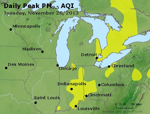 Peak Particles PM<sub>2.5</sub> (24-hour) - http://files.airnowtech.org/airnow/2013/20131126/peak_pm25_mi_in_oh.jpg
