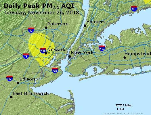Peak Particles PM<sub>2.5</sub> (24-hour) - http://files.airnowtech.org/airnow/2013/20131126/peak_pm25_newyork_ny.jpg