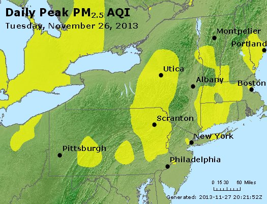 Peak Particles PM<sub>2.5</sub> (24-hour) - http://files.airnowtech.org/airnow/2013/20131126/peak_pm25_ny_pa_nj.jpg