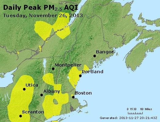 Peak Particles PM<sub>2.5</sub> (24-hour) - http://files.airnowtech.org/airnow/2013/20131126/peak_pm25_vt_nh_ma_ct_ri_me.jpg
