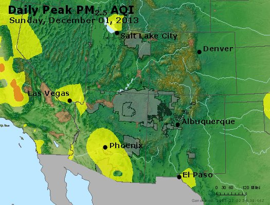 Peak Particles PM<sub>2.5</sub> (24-hour) - http://files.airnowtech.org/airnow/2013/20131201/peak_pm25_co_ut_az_nm.jpg