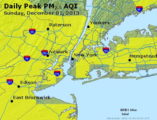 Peak Particles PM<sub>2.5</sub> (24-hour) - http://files.airnowtech.org/airnow/2013/20131201/peak_pm25_newyork_ny.jpg