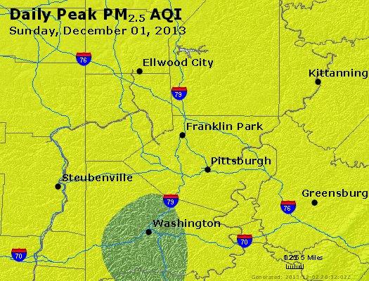 Peak Particles PM<sub>2.5</sub> (24-hour) - http://files.airnowtech.org/airnow/2013/20131201/peak_pm25_pittsburgh_pa.jpg