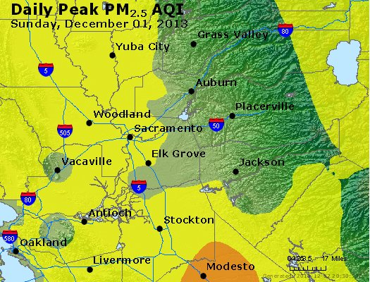 Peak Particles PM<sub>2.5</sub> (24-hour) - http://files.airnowtech.org/airnow/2013/20131201/peak_pm25_sacramento_ca.jpg