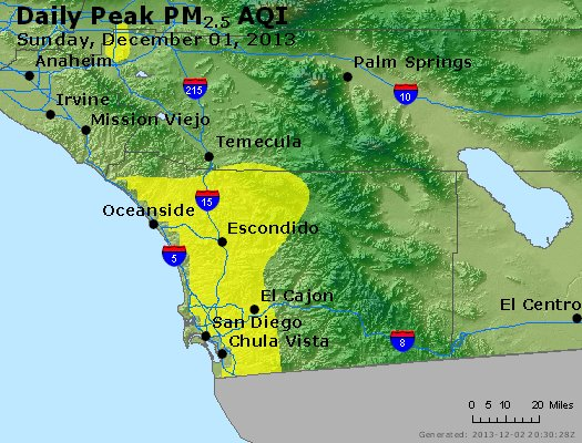 Peak Particles PM<sub>2.5</sub> (24-hour) - http://files.airnowtech.org/airnow/2013/20131201/peak_pm25_sandiego_ca.jpg