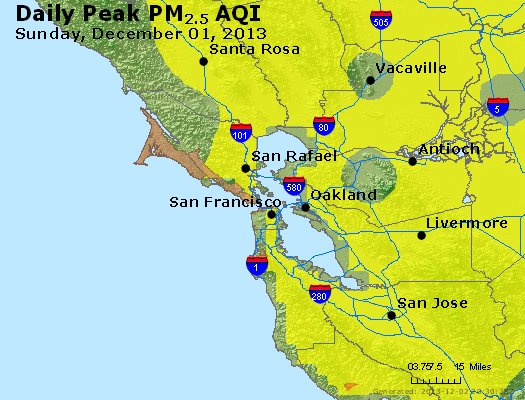 Peak Particles PM<sub>2.5</sub> (24-hour) - http://files.airnowtech.org/airnow/2013/20131201/peak_pm25_sanfrancisco_ca.jpg