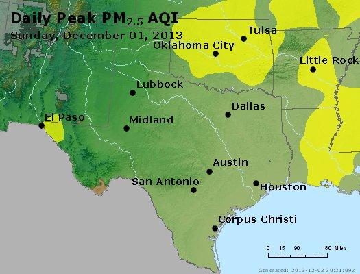 Peak Particles PM<sub>2.5</sub> (24-hour) - http://files.airnowtech.org/airnow/2013/20131201/peak_pm25_tx_ok.jpg