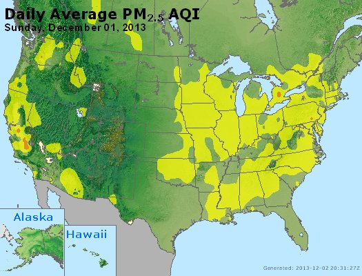 Peak Particles PM<sub>2.5</sub> (24-hour) - http://files.airnowtech.org/airnow/2013/20131201/peak_pm25_usa.jpg