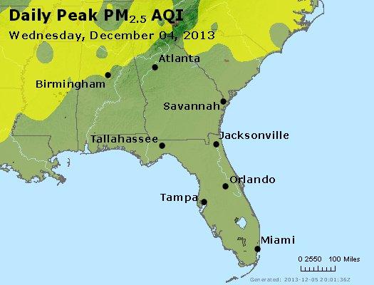 Peak Particles PM<sub>2.5</sub> (24-hour) - http://files.airnowtech.org/airnow/2013/20131204/peak_pm25_al_ga_fl.jpg