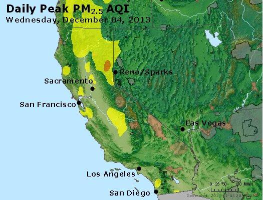 Peak Particles PM<sub>2.5</sub> (24-hour) - http://files.airnowtech.org/airnow/2013/20131204/peak_pm25_ca_nv.jpg