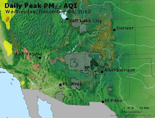 Peak Particles PM<sub>2.5</sub> (24-hour) - http://files.airnowtech.org/airnow/2013/20131204/peak_pm25_co_ut_az_nm.jpg