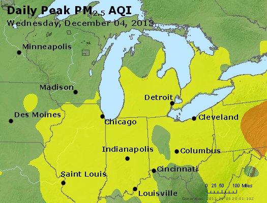 Peak Particles PM<sub>2.5</sub> (24-hour) - http://files.airnowtech.org/airnow/2013/20131204/peak_pm25_mi_in_oh.jpg