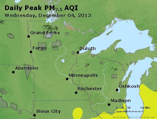 Peak Particles PM<sub>2.5</sub> (24-hour) - http://files.airnowtech.org/airnow/2013/20131204/peak_pm25_mn_wi.jpg