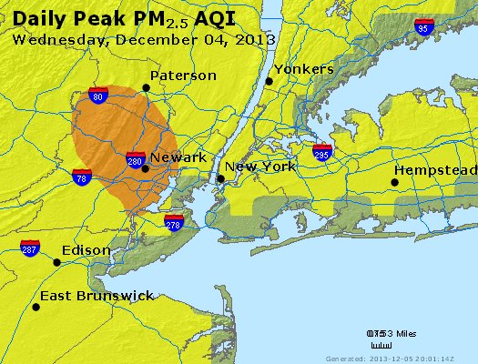 Peak Particles PM<sub>2.5</sub> (24-hour) - http://files.airnowtech.org/airnow/2013/20131204/peak_pm25_newyork_ny.jpg