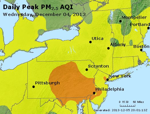 Peak Particles PM<sub>2.5</sub> (24-hour) - http://files.airnowtech.org/airnow/2013/20131204/peak_pm25_ny_pa_nj.jpg