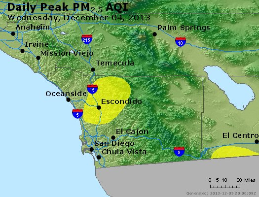 Peak Particles PM<sub>2.5</sub> (24-hour) - http://files.airnowtech.org/airnow/2013/20131204/peak_pm25_sandiego_ca.jpg