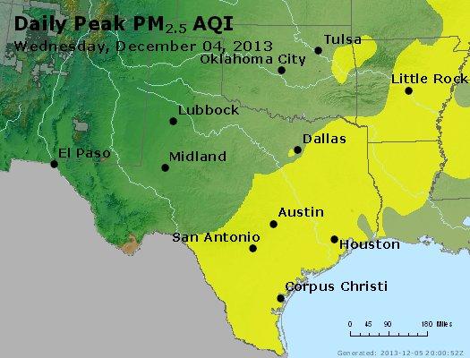 Peak Particles PM<sub>2.5</sub> (24-hour) - http://files.airnowtech.org/airnow/2013/20131204/peak_pm25_tx_ok.jpg
