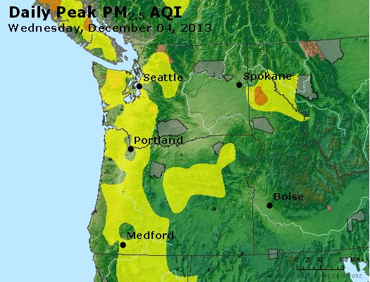 Peak Particles PM<sub>2.5</sub> (24-hour) - http://files.airnowtech.org/airnow/2013/20131204/peak_pm25_wa_or.jpg