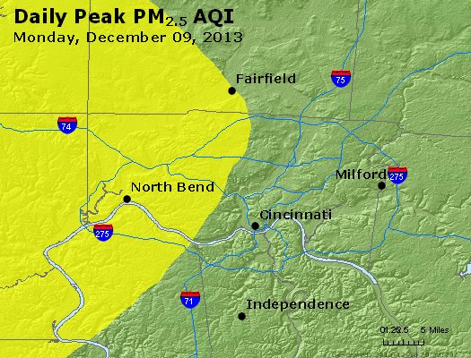 Peak Particles PM<sub>2.5</sub> (24-hour) - http://files.airnowtech.org/airnow/2013/20131209/peak_pm25_cincinnati_oh.jpg