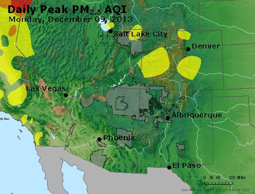 Peak Particles PM<sub>2.5</sub> (24-hour) - http://files.airnowtech.org/airnow/2013/20131209/peak_pm25_co_ut_az_nm.jpg