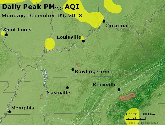Peak Particles PM<sub>2.5</sub> (24-hour) - http://files.airnowtech.org/airnow/2013/20131209/peak_pm25_ky_tn.jpg