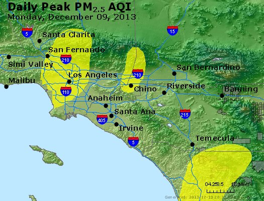 Peak Particles PM<sub>2.5</sub> (24-hour) - http://files.airnowtech.org/airnow/2013/20131209/peak_pm25_losangeles_ca.jpg
