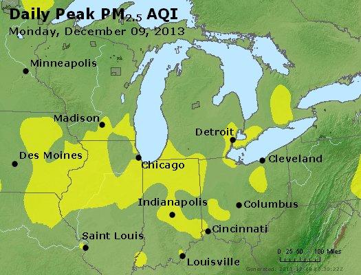 Peak Particles PM<sub>2.5</sub> (24-hour) - http://files.airnowtech.org/airnow/2013/20131209/peak_pm25_mi_in_oh.jpg