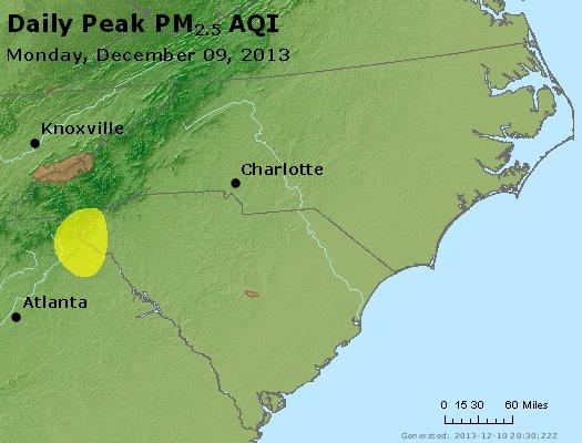 Peak Particles PM<sub>2.5</sub> (24-hour) - http://files.airnowtech.org/airnow/2013/20131209/peak_pm25_nc_sc.jpg