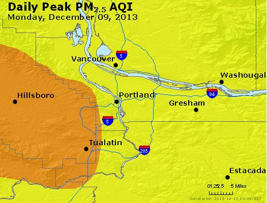 Peak Particles PM<sub>2.5</sub> (24-hour) - http://files.airnowtech.org/airnow/2013/20131209/peak_pm25_portland_or.jpg